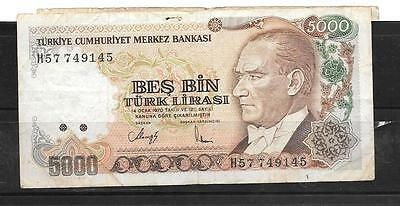 Turkey #198 1990 Vg Used 5000 Lira Old Banknote Paper Money Currency Bill Note