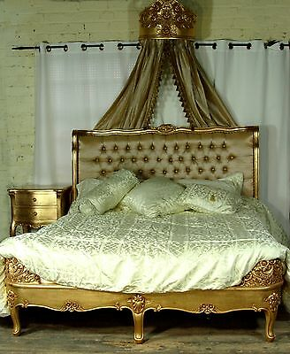 5' King Size French Style Upholstered Mahogany Gilt Bed  New