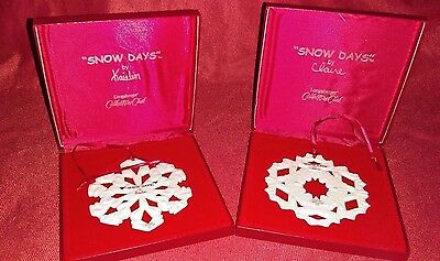 "Longaberger Collectors Club ""snow Days"" Ceramic Snowflake  - 2000 And 2002"