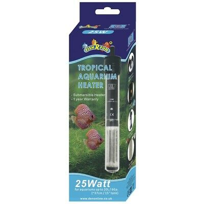 Fish R Fun 25w Tropical Aquarium Heater FRF-AH25 Fish Tank Water Den Marketing
