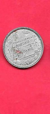 Oceania French Km2 1949 Vf-Very Fine-Nice Old Vintage Aluminum Franc Coin