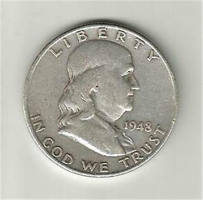 1948-D Silver Franklin Half Dollar. Lower Mintage In A Collectible Condition.
