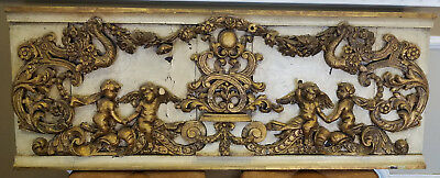 Antique Italian 19th Century Carved Wood Gilded Cherub Putti Panel