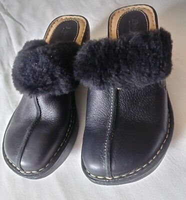 Women's Black Leather Clogs by Born size 6M