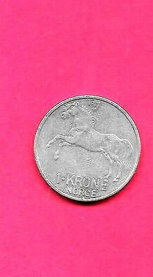 Norway Norwegian Km409 1971 Vf-Very Fine-Nice Large Old Krone Horse Animal Coin
