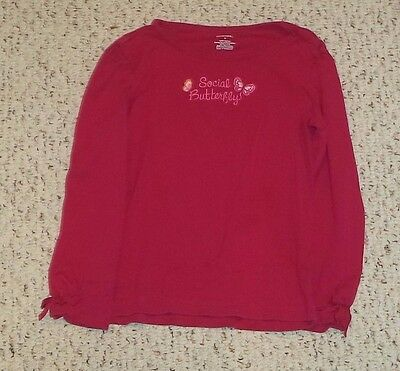 """""""Social Butterfly"""" Magenta Gymboree L/S Top, Butterfly Girl, Size 6, VGUC"""
