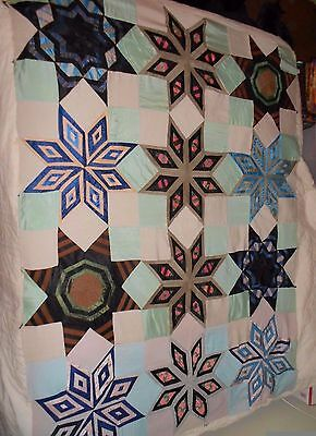 Snowflake or Star Silk Satin Brocade Antique Quilt Top