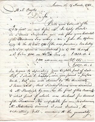 1781, HMS Providence, British Troop Transport, Owners letter, making headway