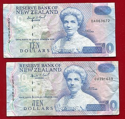 """New Zealand (Kate Sheppard) $10.00 1992-1997 Pick 178 """"circulated Pair"""" 2 Pieces"""