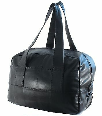 Donna Karan Black Label Whipstitch Leather Duffel Bag Overnight Travel Tote 90s