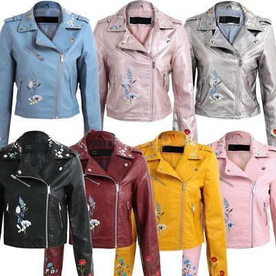 d934c3c0 Women Ladies Cool Moto Floral Embroidered PU Leather Jacket Outwear Coat  X0H1
