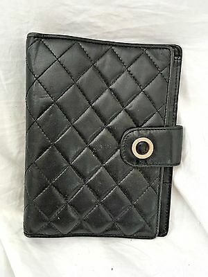 """Talbots Quilted Black Leather Binder 1"""" Ring"""