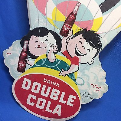 Original Vintage DOUBLE COLA SODA Light Fan PULL Advertisng Sign Hot Air Balloon