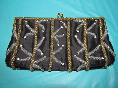 1960s Walborg Hong Kong Hand Beaded Sequin Evening Purse Gold Chain Strap