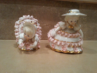 Pair of Vintage Lefton Bloomer Girl Figurines KW1412 Pink