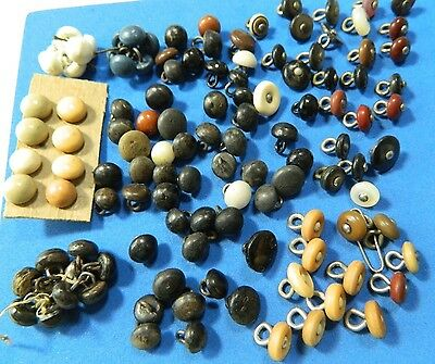 Large LOT antique SHOE BUTTONS Mixed Materials VI - Wood -MOP -Pin shank & Plain