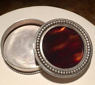 Antique Sterling Silver & Tortoise Shell Pill Box By Benziger Bros