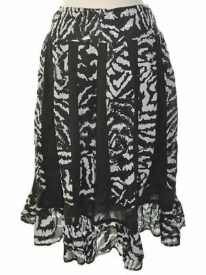 NY Collection 4325 Size Medium M Black White Printed A-Line Skirt Ruffled $60