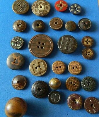 LOT antique COMPOSITION Buttons  Plaid - Inlaid - Goldstone - carved -Whistle+