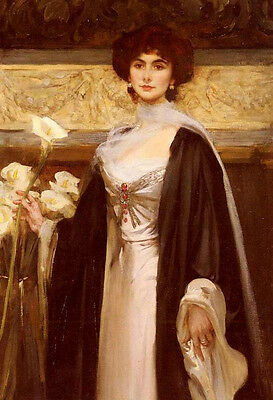 Large Oil painting James Jebusa Shannon White Lilies young lady Hand painted