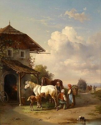 Hand painted oil painting village landscape farmers their horses Foal dog 36""