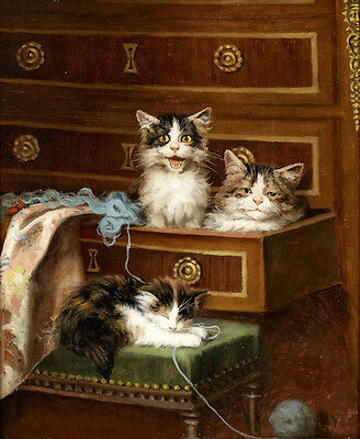 Art oil painting animals cats kittens have a rest After playing Hand painted