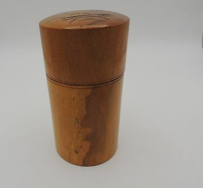 Vintage Japan Wood Tea Caddy Design on Top Signed Nice Grain