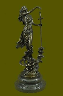 Handmade Art Female Excalibur by Spanish Artist Milo Bronze Sculpture Figure