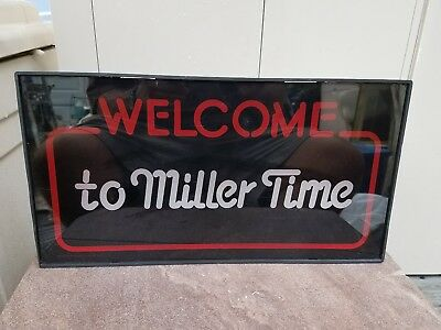 Vintage 1983 Miller Lighted Beer Sign WELCOME TO MILLER TIME