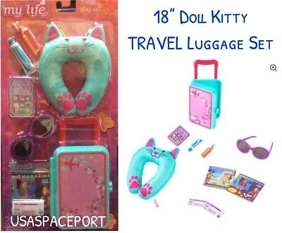 """18"""" Doll 10-piece Purple TRAVEL LUGGAGE SET Suitcase for My Life American Girl"""