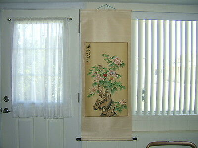 """Vintage Chinese Wall Hanging Scroll Painting of Peonies 56""""High"""