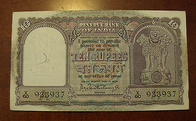 India ND 1940 10 Rupees Note P40a Reserve Bank of India
