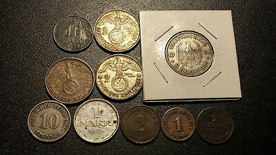 Mixed Lot Of 10 Germany Coins..range From 1872 To 1938