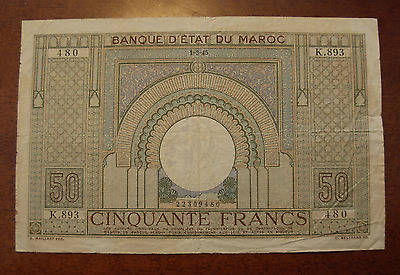 Morocco 1945 20 Francs Note P21