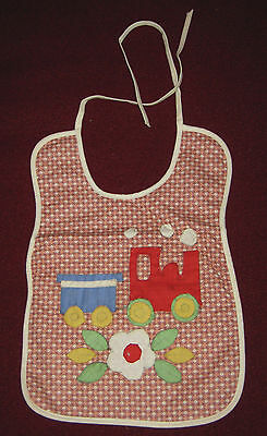 Baby Bib 2 Bibs Hand Crafted Train Boats Floral Linen Cotton Quilted Applique