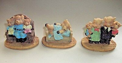 Miniature Set of 3 Pig Figurines Vintage Mom Dad Piglets Kids Family Dressed