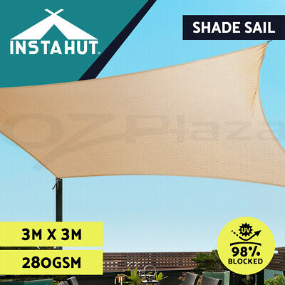 Sun Shade Sail Cloth Shadecloth Square Canopy Awning Sand Beige 280gsm 3x3m