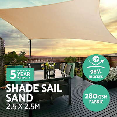 Sun Shade Sail Cloth Shadecloth Square Canopy Awning Sand 280gsm 2.5x2.5m