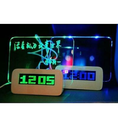 Multifunction LED Fluorescent Message Board Digital Alarm Clock with Calendar MO