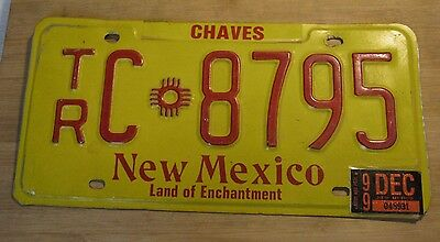 1999 New Mexico License Plate Expired Tr C 8795
