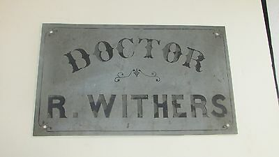 Doctor R Withers 1900-1930 Decorative Antique Metal Sign Excellent Condition