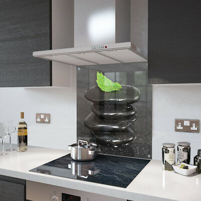 Leaf and Pebble Stack Glass Splashback Fixing Holes - 60cm Wide x 80cm High