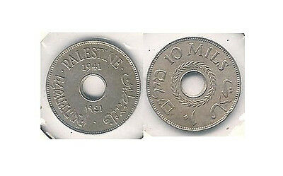 1941 Palestine 10 Mills Coin in Extra Fine Condition {Low Mintage} -- KM #4 ~