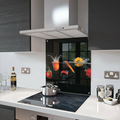 Peppers and Chili Glass Splashback Fixing Holes - 70cm Wide x 90cm High