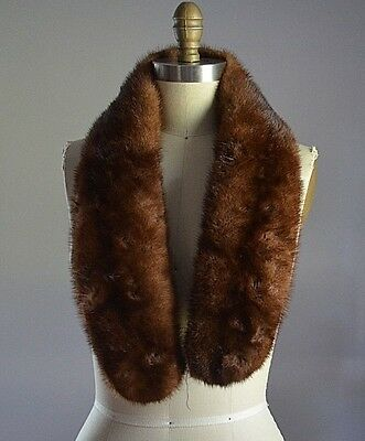 DEEP RICH BROWN GENUINE MINK FUR LARGE COLLAR for CRAFTING CUTTING PROJECT