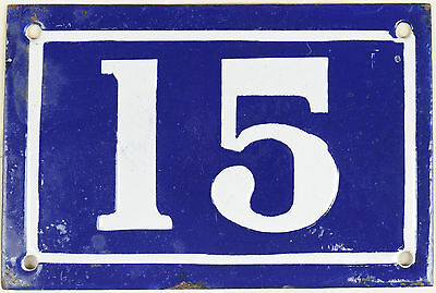 Old blue French house number 15 door gate plate plaque enamel steel sign c1950