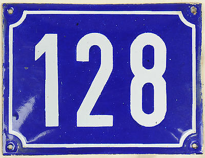 Large old blue French house number 128 door gate plate plaque enamel metal sign