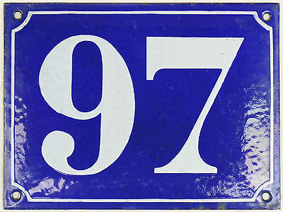 Large old blue French house number 97 door gate plate plaque enamel steel sign
