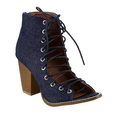 Women's Lace Up Stacked Heel Peep Toe Ankle Booties Sandals DENIM Size 8 1/2