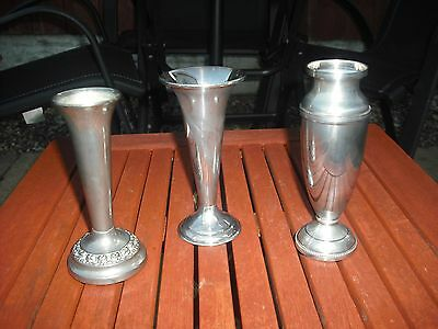 3 x Silver Plated Vases